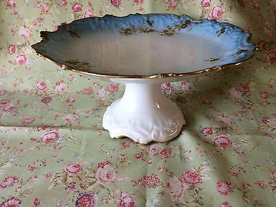 Antique French Limoges 'Coiffe' 1891-1914 Cake Fruits Stand Plate Pedestal Gold