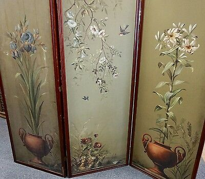 Victorian Painted Three Fold Dressing Screen, 19thC Victorian Mahogany Screen