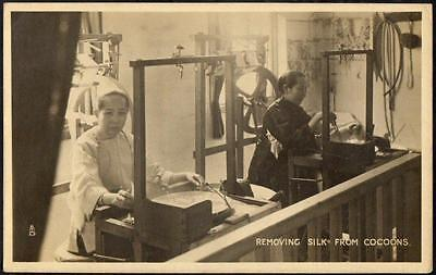 Hong Kong Vintage Tuck Postcard - Silk Production Exhibit - Silk Cocoons - RP