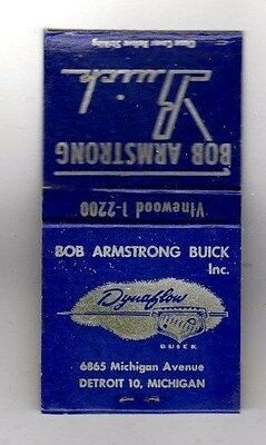Buick Dealership,Advertising Matchbook (Bob Armstrong,Detroit,Mich.) Dynaflow