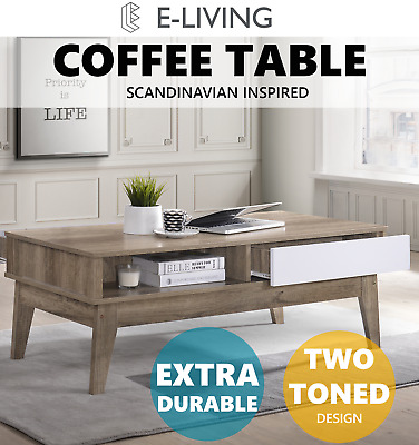 NOBU 2 Drawers Coffee Table Scandinavian Interior Living Room Furniture Storage