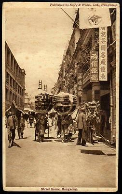 Hong Kong Vintage Postcard - View of Busy Street Scene