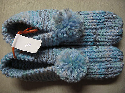 New Amish Handmade Light Blue Mix House Slippers Womans X Lg Mans Med/Large 10""