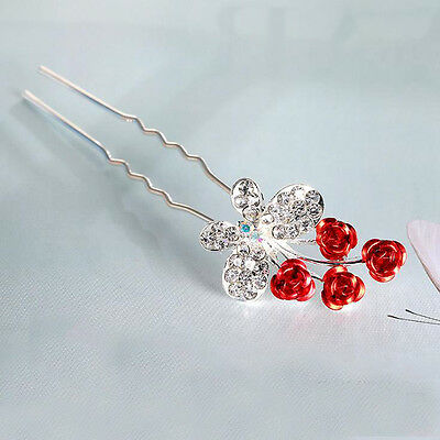 Clear Crystal Rhinestone Butterfly Red Rose Flower Hair Clips Combs Pins Wedding