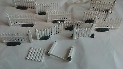 White Picket Fence Lot Lemax 10 Sections 1 Gate Christmas Village Accessories
