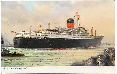 Vintage Postcard - RMS Ivernia. Cunard Line