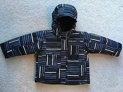 Infant Boys Columbia Black-Grey Stripe Hooded Coat 18-24 Mos Excellent-Clean!