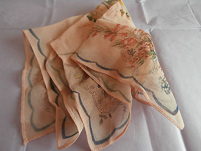 Vintage Peach coloured flower Rayon Handkerchief