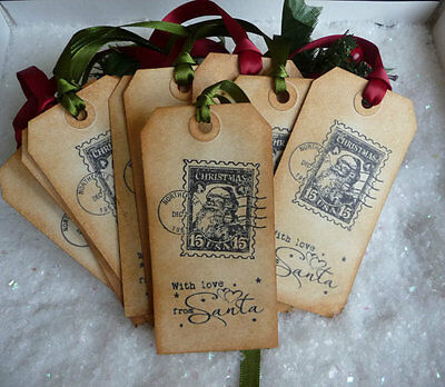 SELLER AWAY UNTIL 3.11  10 Special Delivery Christmas Gift Tags Green & Red