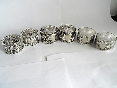 Silver Plated Antique 6 Napkin Rings -  3 Pairs -  Repousse - Pierced - Scrolled