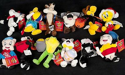 "Vtg 2000 Looney Tunes Warner Bros Holiday Year Mini 6"" Plush Bean Bag COMPLETE"