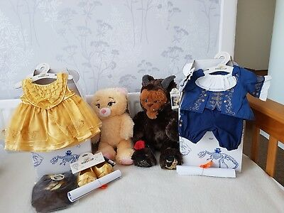 Build A Bear Beast And Belle From Beauty And The Beast + Outfits.certs,boxes.bn
