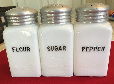 Vintage Embossed Hotpoint Range Top Milk Glass Shakers Pepper / Flour / Sugar