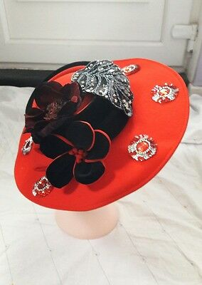 Vintage Ladies Red hat from Connor formal/wedding/Ascot Races hat one size