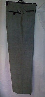 Stromberg Golf Trousers, Mens, Grey Check, 34 Reg, Slim Fit, Teflon Coated