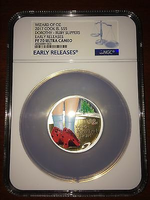 2017 Cook Islands Silver $5 Wizard Of Oz: Ruby Slippers Gilt PF70 UC ER NGC Coin