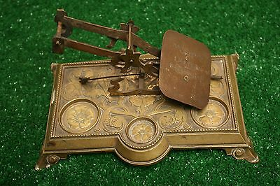 Antique Postal Post Office Scale Brass Art Deco Floral with weight