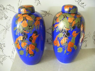 Antique/Vintage Pair Royal Doulton Tall Covered Vases/Ginger Jars