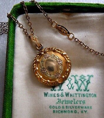 Antique Victorian 12k Gold Fill 3 Color Locket EMCO or FMCO Necklace Estate Lot