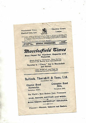 1st post war season:-MACCLESFIELD TOWN v CHESTER RESERVES 1946/7.