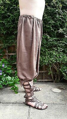 Roman braccae, legionary cavalry pants, brown faux suede, waist upto 38 inches.