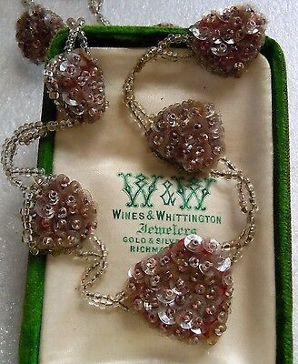 Antique Art Deco Hand Beaded Glass Beads & Sequin 6 Heart Necklace Estate Lot