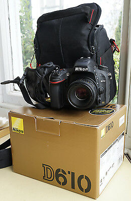 Nikon D610 24.3MP Digital SLR with NIKKOR 50mm 1.8 AF-D; Manfrotto Holster;Grip