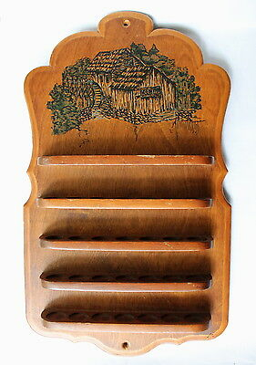 VTG Wood Thimble 5 Shelf Illustrated Country Water Mill Wall Hanging Storage