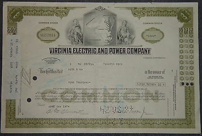 USA: Virginia Electric and Power Company 1974 1000 shares