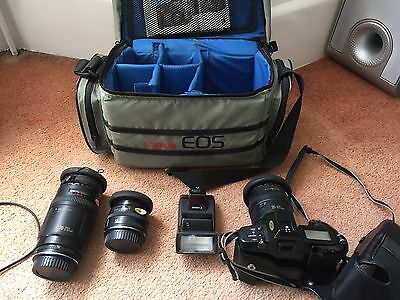 Canon EOS 620 35mm SLR Film Camera + Various zoom lens, Bag and tripod