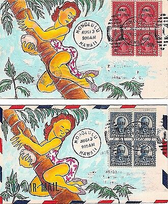 647 & 648 FDC BLK SET HAND PAINTED Hawaii Sesquicentennial 2c& 5c Nickles Covers