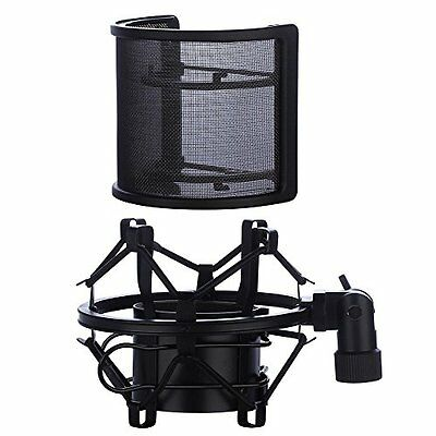 Microphone Shock Mount With Pop Filter, Mic Anti-Vibration Suspension Shock Clip