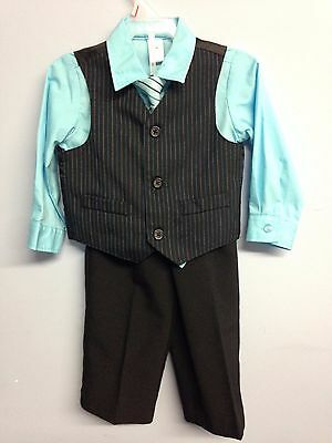 George Turquoise Blue and Black Infant Suit 4 Piece Size 18M 18 Months