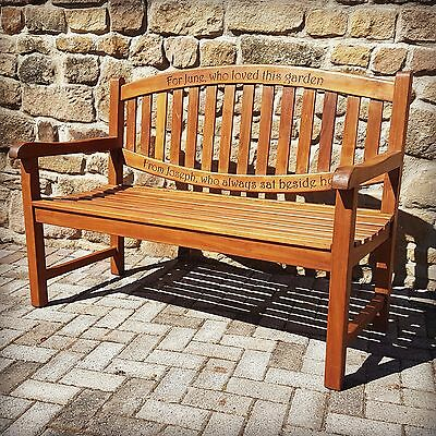 Teak Memorial Bench Engraved Carved Inscription Chunky Wooden Commemorative Seat