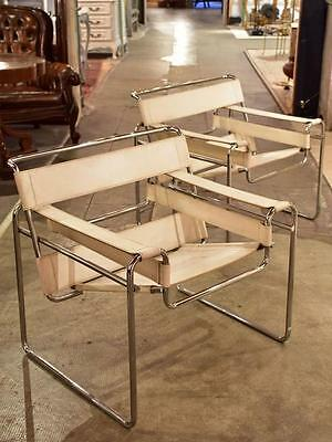 Pair of original white Marcel Breuer Wassily armchairs