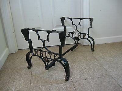 Antique Industrial Cast Iron Coffee Side Table Legs White Sewing Machine Base
