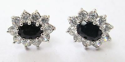 Pair fine quality vintage 9ct gold, sapphire & diamond paste cluster earrings