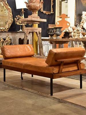 Scandinavian mid-century leather day bed with oak frame - very rare