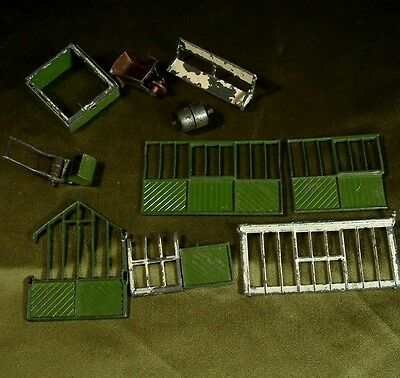 VINTAGE LEAD BRITAINS GARDEN GREEN HOUSE TOOLS COLD FRAME + BROKEN lawn mower