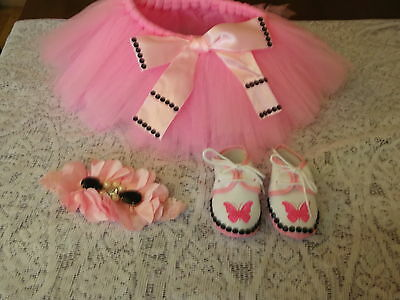 Baby Girls Romany Bling Tulle Skirt/headband/shoes 0-3 Months