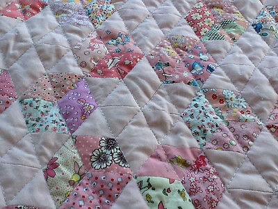Hand Pieced Star and Tumbling Blocks Baby Quilt in Baby Pink 1930s Repro Girl