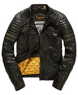 SUPERDRY Endurance Speed Leather biker Jacket size M **** NEW ****