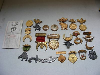 Lot Of Vintage Early 1900's Shriners Masonic Crescent Pilgrimage Fez Pin Ca