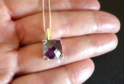 "Beautiful Amethyst Cz & 925 Sterling Silver Pendant, With 18"" Chain. ""excellent"""