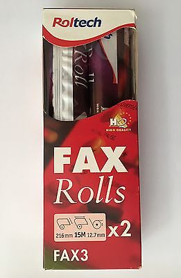 2 X ROLTECH 210mm x 15m x 12.7mm - NEW FAX ROLLS - HIGH QUALITY - REF:F3