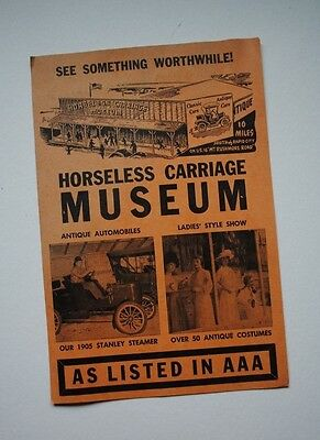 Vintage Rapid City SD Horseless Carriage Museum Brochure Flyer As Listed In AAA
