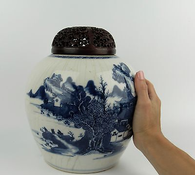Antique Chinese Qianlong Blue and White Jar with Hardwood Cover