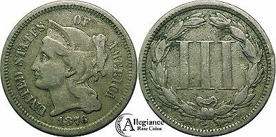 1876 3cn Three Cent Nickel VF problem-free rare old type coin old money 3c