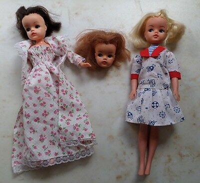 VINTAGE SINDY DOLL COLLECTION - 2 complete dolls, 1 head only - Active Sindy +
