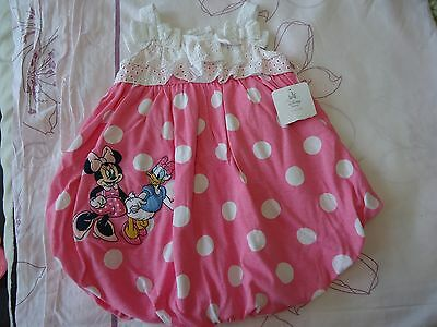 Disney store minnie and donald duck romper dress baby girl 3-6m NWT